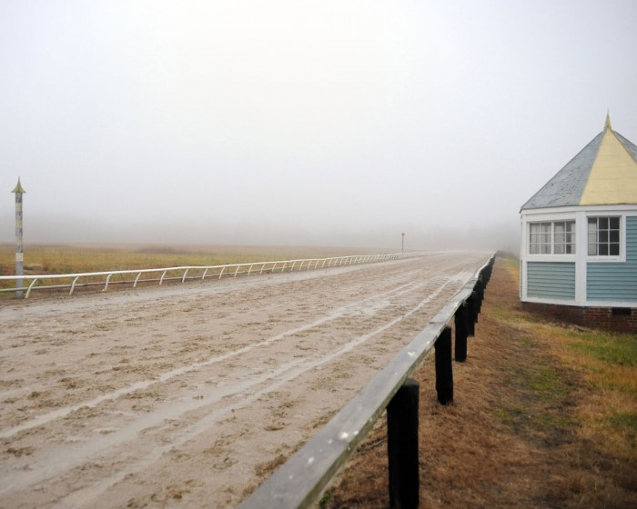 Rain and fog can't detract from the beauty and history of the training track at Centennial Farms in Middleburg, VA.
