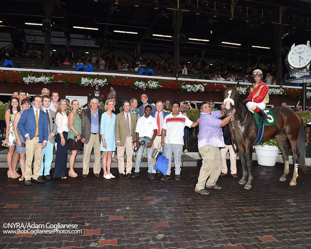 Centennial Farms, the Jimmy Jerkens barn, family, and friends in the Saratoga winner's circle with Adulator and John Velazquez.