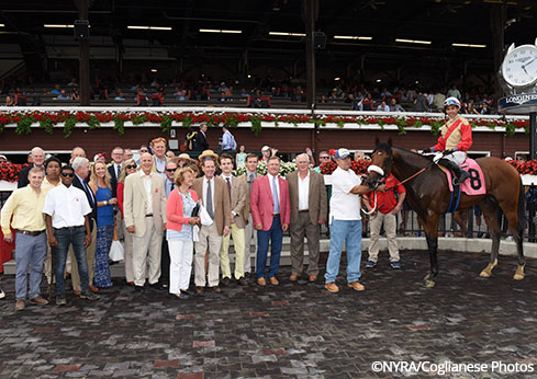 Centennial Farms in the winner's circle at Saratoga with Rocketry.