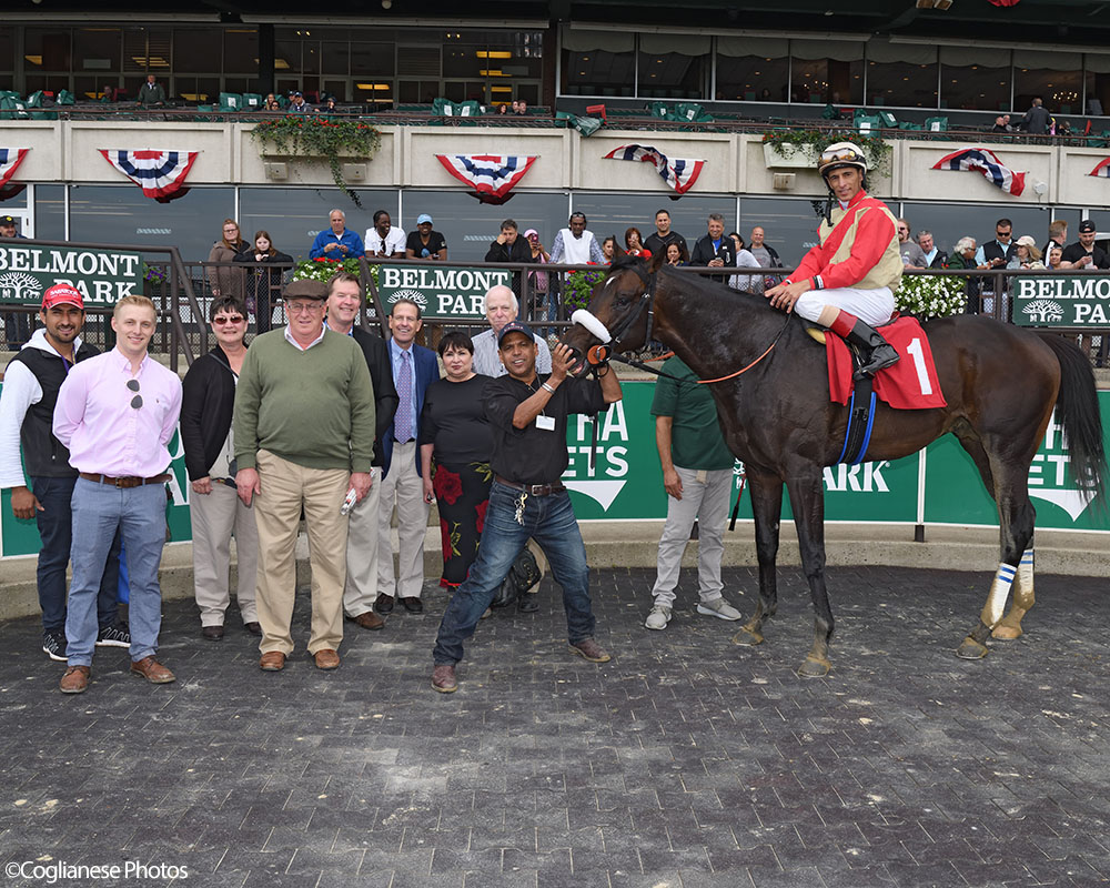 Candygram in the winner's circle at Belmont Park.