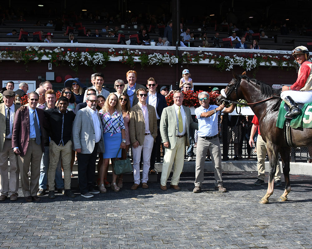 Weather Wiz and Centennial Farms partners in the Saratoga Race Course winner's circle.