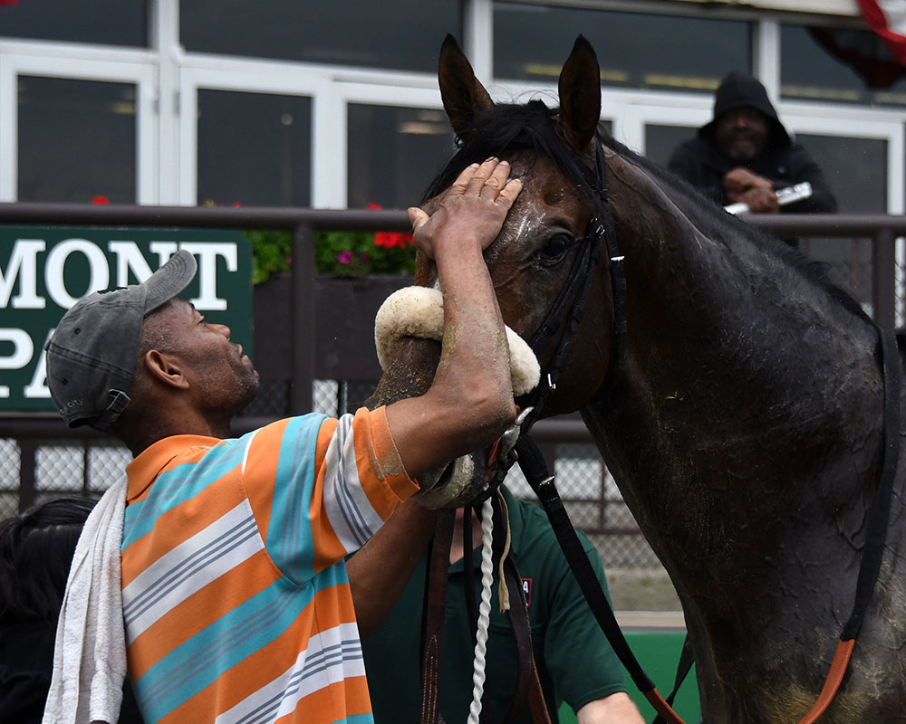 Preservationist wins at Belmont Park for Centennial Farms thoroughbred racing partnership.