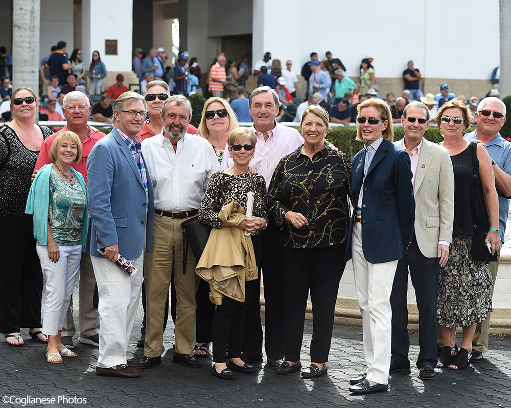 Life On Top breaks his maiden at Gulfstream Park. Thoroughbred racing partnership in the paddock.