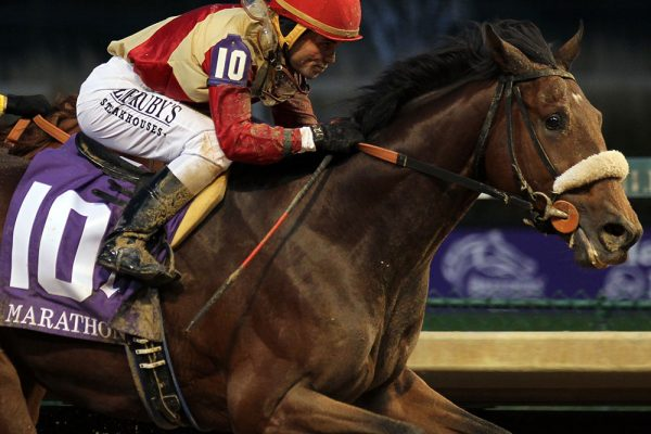 Rocketry takes the G2 Marathon presented by the Thoroughbred Aftercare Alliance, setting a Churchill Downs track record.