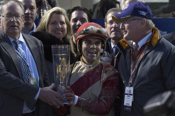 Jimmy Jerkens, Joel Rosario, Don Little, and partners celebrate Rocketry's victory in the G2 Marathon presented by the Thoroughbred Aftercare Alliance, setting a Churchill Downs track record.