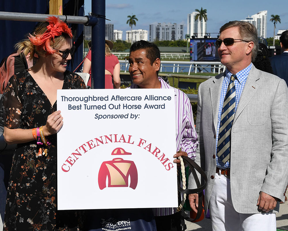 Don Little presents the Best Turned Out Horse Awards at Gulfstream Park on 2020 Pegasus World Cup Day.